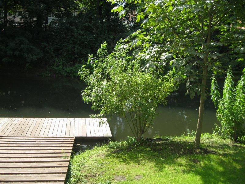 Garten Bootssteg zur Leine